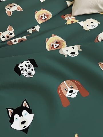 Простынь на резинке  -Dogs - натяжная 90х200х26 см 1,5-спальная