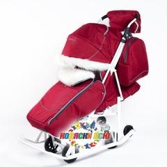 Санки коляска PIKATE Снеговик «Бордо»