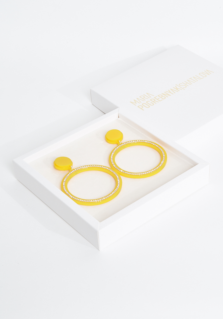 Серьги кольца желтые
