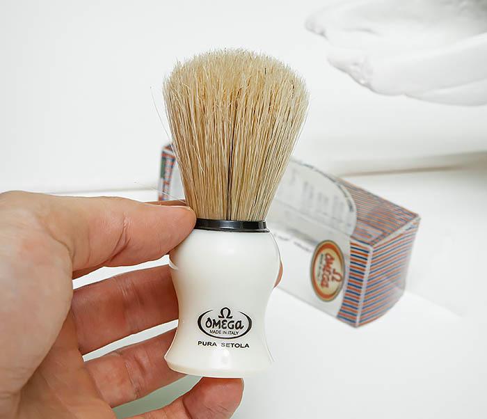 RAZ504 Помазок для бритья «OMEGA» с кистью из щетина кабана фото 04