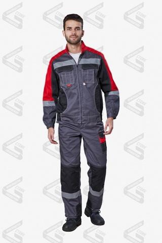 Костюм Фаворит-Мега п/к, черный/красный/серый (тк.Протек, 240)