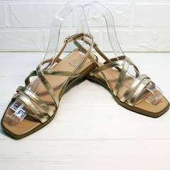 Летние босоножки сандали женские кожаные Wollen M.20237D ZS Gold.