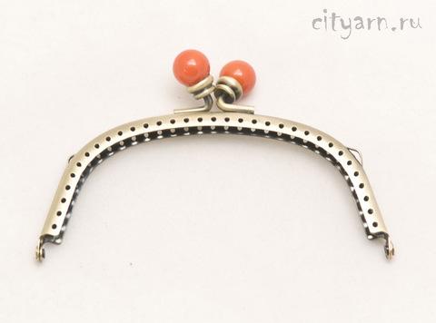Фермуар Prym Alegra, цвет светлой латуни, с оранжевыми шариками, размер 13*8 см, код 615164