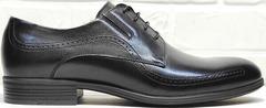 Классические кожаные туфли на шнурках мужские Ikoc 3416-1 Black Leather.