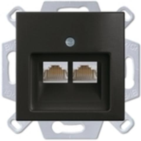 Розетка телефонная двойная RJ1х2,. Цвет шато-черный. ABB Basic 55. 1753-0-0206+130 104 21