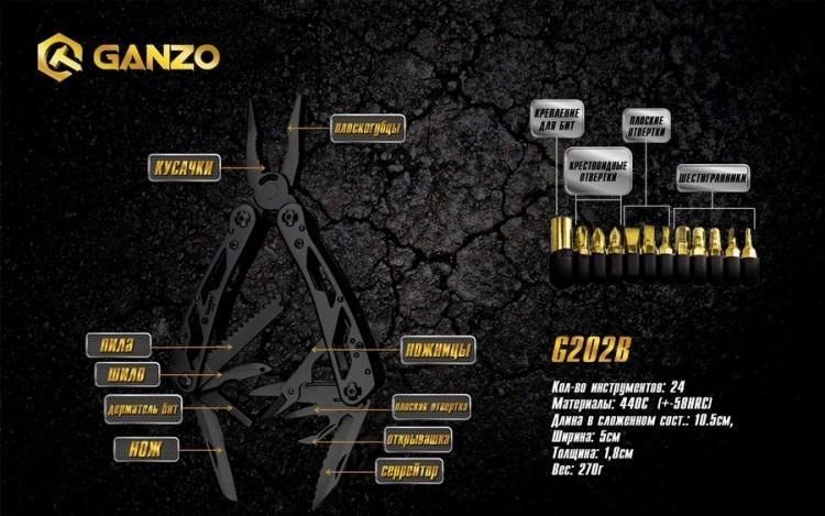 Мультитул Ganzo G202B, 105 мм, 24 функций, нейлоновый чехол