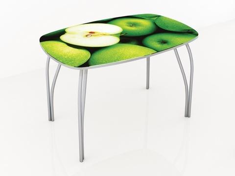 Стол обеденный со стеклом Лотос 1100х700 ЛДСП, металл ТЭКС фотопечать по каталогу