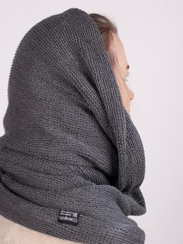 Теплый уютный шарф-снуд на два оборота (цвет - серый меланж)