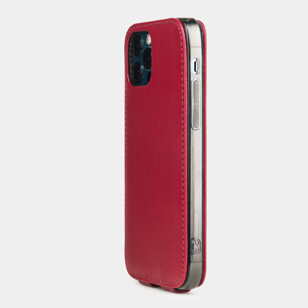 Чехол для iPhone 12 Pro Max из натуральной кожи теленка, цвета малины