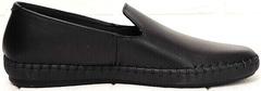 Стиль смарт кэжуал кожаные туфли слипоны мужские Broni M36-01 Black.