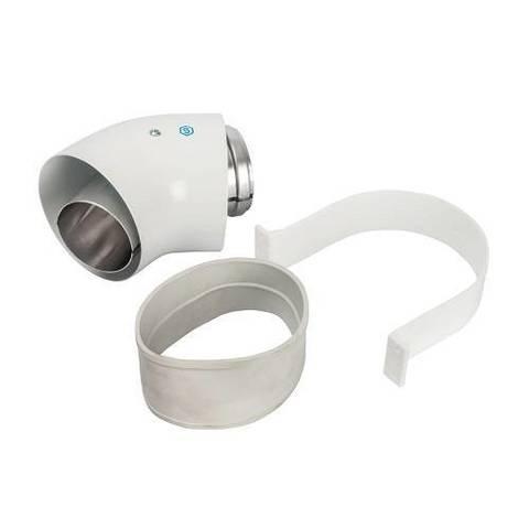 Отвод 45° для коаксиального дымохода STOUT D60/100 мм (с уплотнением и хомутом)