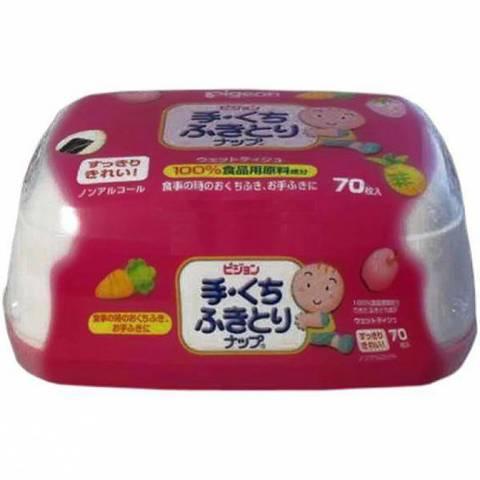 Детские влажные гигиенические салфетки с косметическим молочком в пластиковом контейнере PIGEON 66 шт