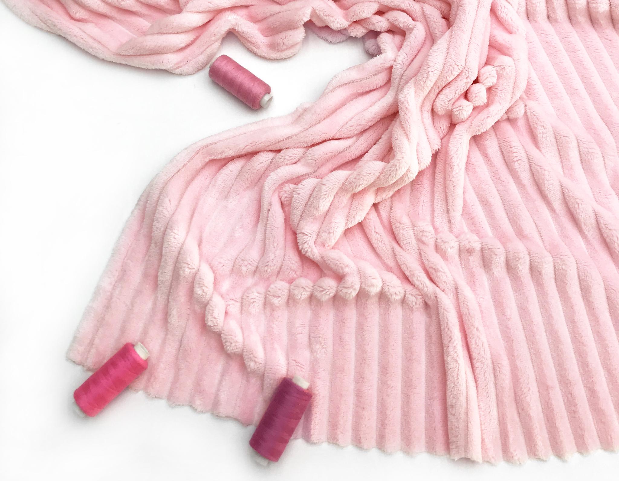 Плюш полоска Розовый