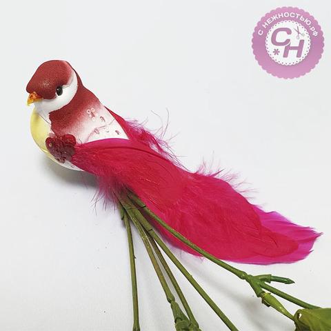 Птичка цветная с пайетками на зажиме,  15 см, 1 шт.