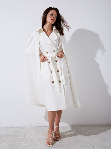 Тренч-платье с накидкой из хлопка белый