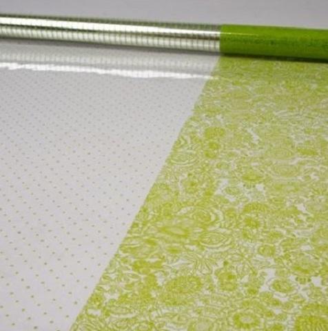 Пленка Вернисаж и точки (размер:80см х 7м) Цвет:салатовый