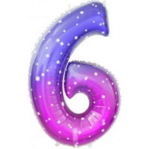 Шар-цифра, фольга, Градиент Фиолетовый,