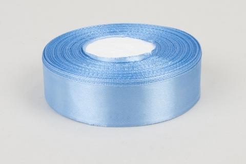 Лента атласная (размер 25 мм х 30 м) Цвет: светло-голубая