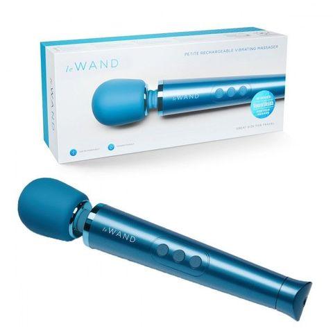 Синий жезловый мини-вибратор Le Wand c 6 режимами вибрации