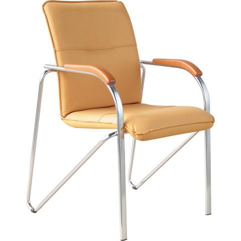 Конференц-кресло Samba бежевый (искусственная кожа/бук/металл хромированный)