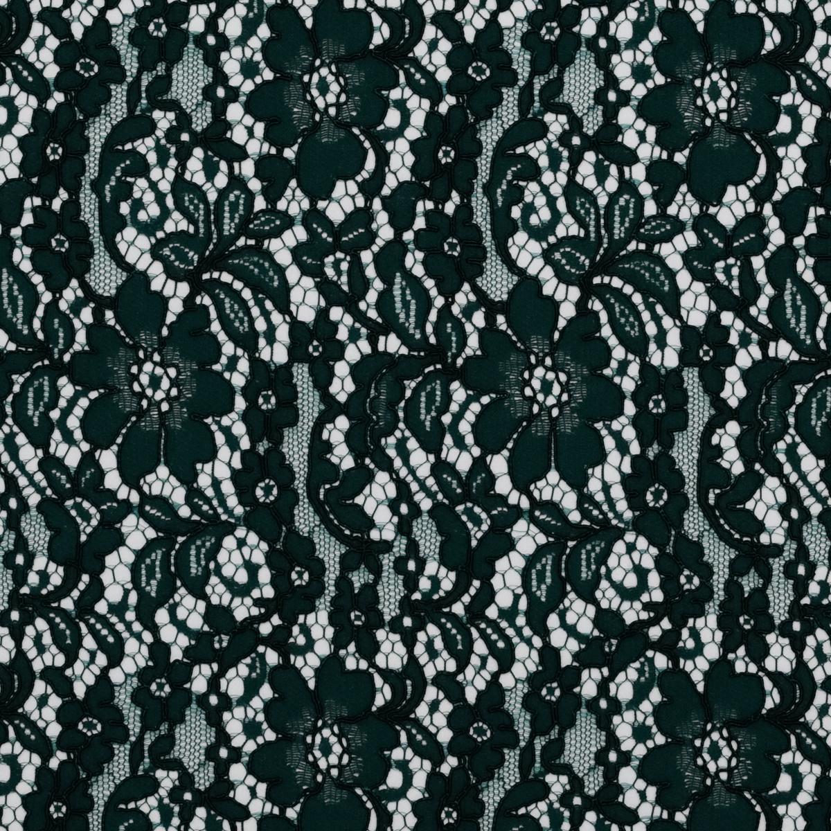 Хлопково-вискозное кордовое кружево тёмно-зеленого цвета