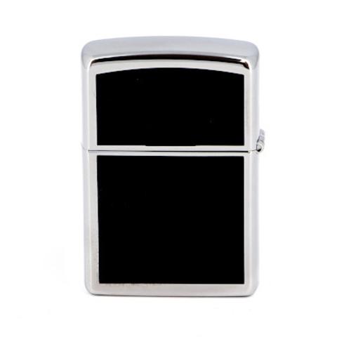 Зажигалка Zippo с покрытием High Polish Chrome, латунь/сталь, серебристая с чёрными накладками
