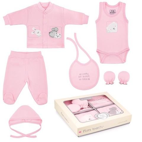 Набор одежды для детей FIMBABY 200077 от 0 до 6 мес. 7 предметов (р.68 розовый цвет)