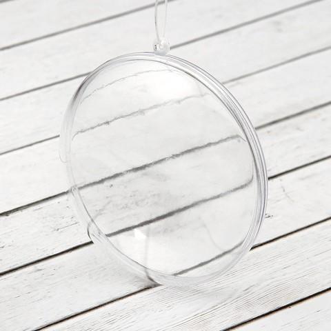 Медальон пластиковый, две половинки, прозрачный 11см.