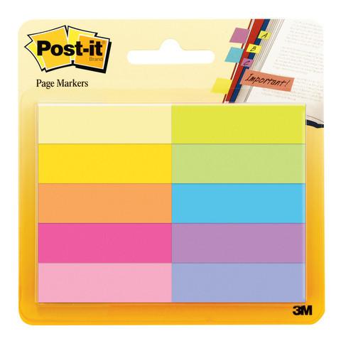 Клейкие закладки Post-it бумажные 10 цветов по 50 листов 12.7х44.5 мм