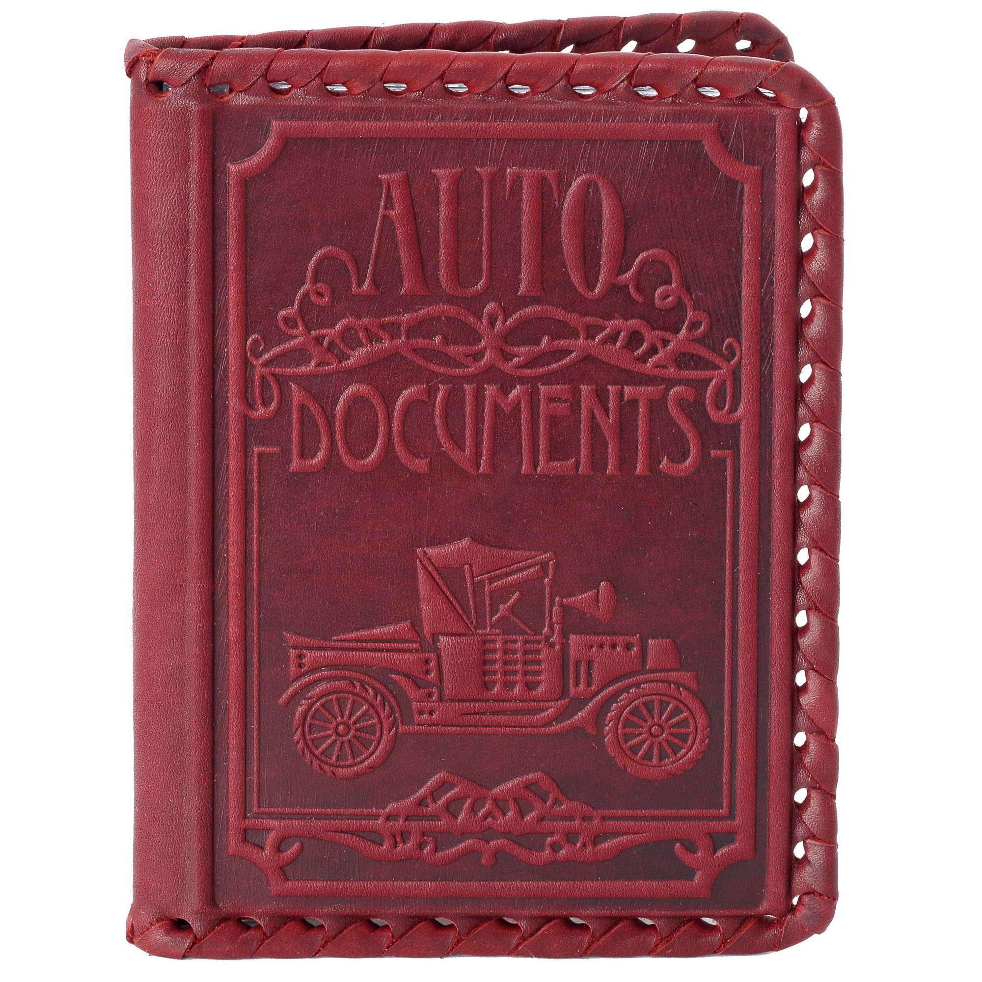 Обложка для автодокументов «Ford T». Цвет бордо