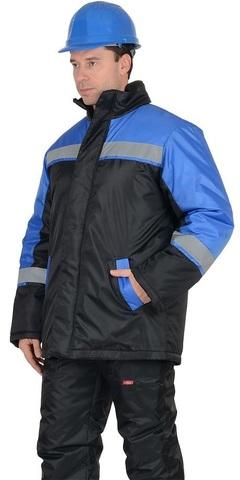Куртка   длинная черная с васильковым и СОП