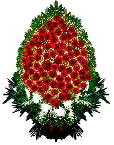 Траурный венок из живых цветов ВЖ 07 -180 см