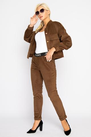 <p><span>Хит сезона! Модный брючный костюм из вельвета, у которого в этом сезоне нет конкурентов. Бомбер прекрасно дополняет брюки на декоративной резинке.Длины:бомбер/брюки: 44-51/95,46-52/96,48-53/97,50-54/98.</span></p>