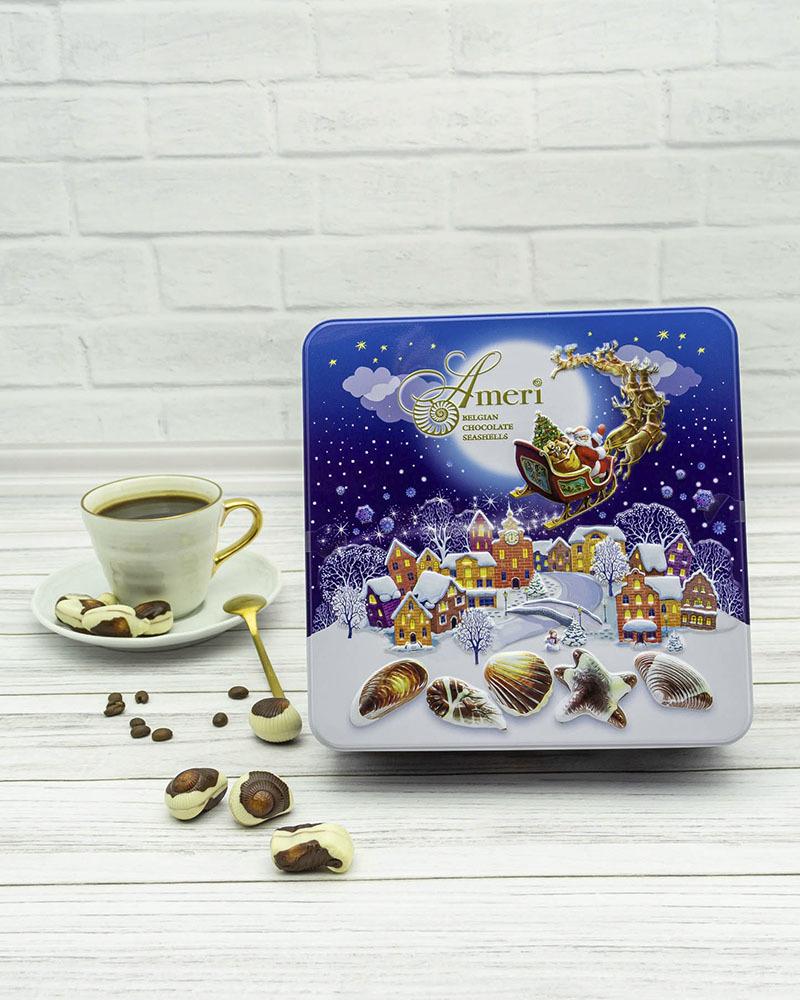 Шоколадные Конфеты Ameri с Начинкой Пралине в Новогодней Жестяной Коробке 500 гр.