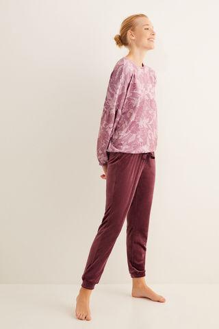 Довга велюрова піжама з квітковим принтом