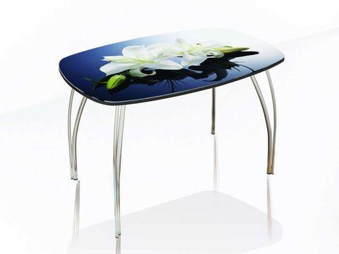 Стол обеденный со стеклом Лотос 1200х800 ЛДСП, металл ТЭКС фотопечать по каталогу