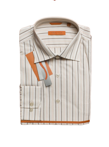 Рубашка Grostyle дл/рукав бежевая полоска Long