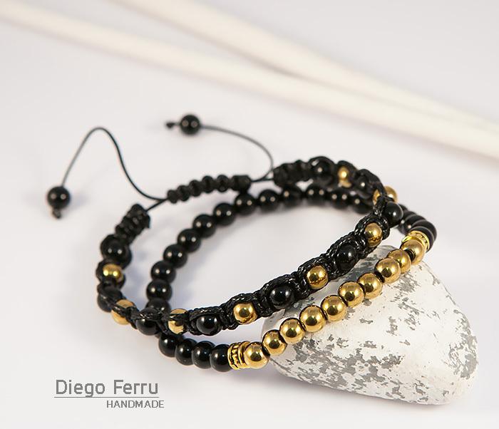 BS698 Комплект мужских браслетов из натурального камня, «Diego Ferru» фото 05