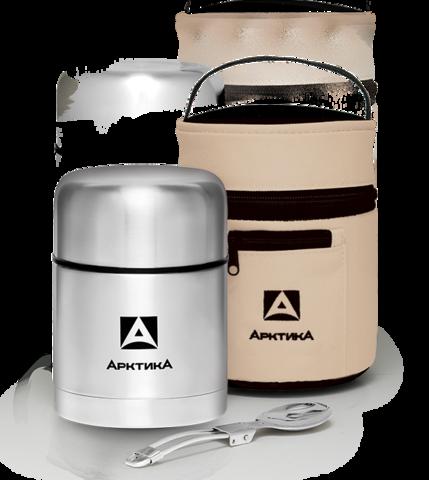 Термос для еды Арктика (0,5 литра) с супер-широким горлом, стальной, чехол
