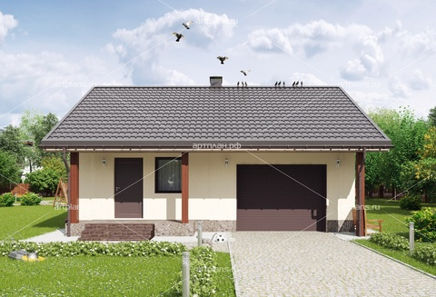 Проект гаража на 1 машину в европейском стиле