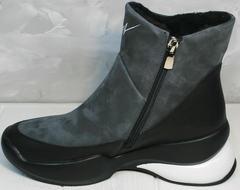 Зимние ботинки кроссовки женские Jina 7195 Leather Black-Gray