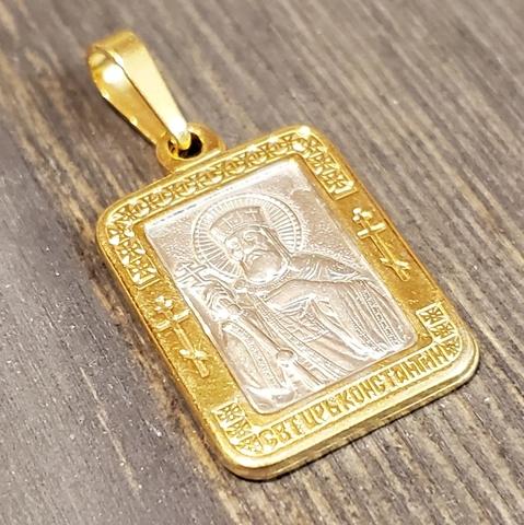Нательная именная икона святой Константин с позолотой кулон медальон с молитвой