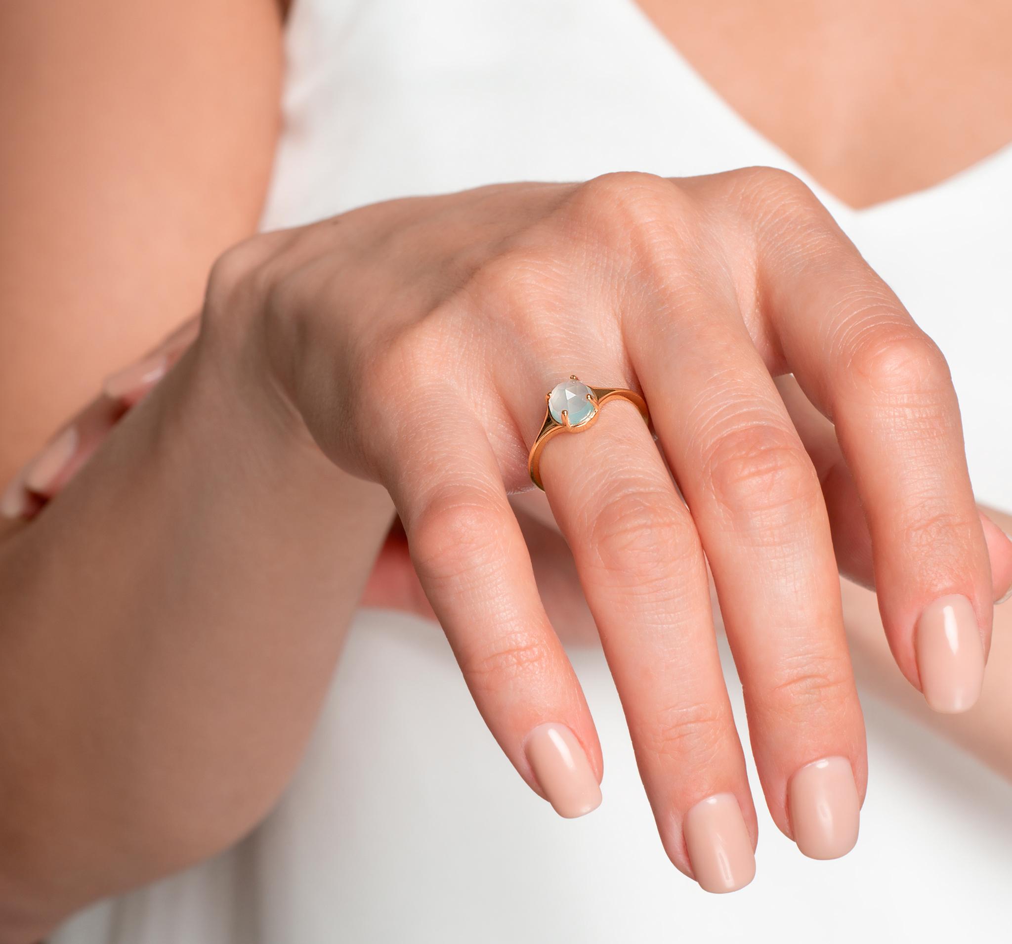 Кольцо с голубым халцедоном в позолоте от BLAGENA