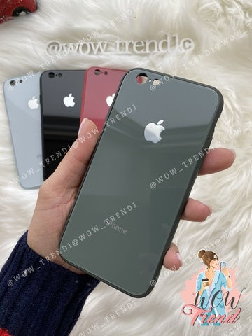 Чехол iPhone 6/6S Glass Pastel color Logo /forest green/