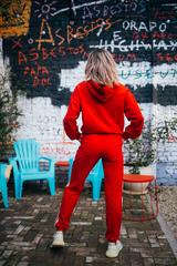 Спортивный костюм из толстовки и штанов красный недорого