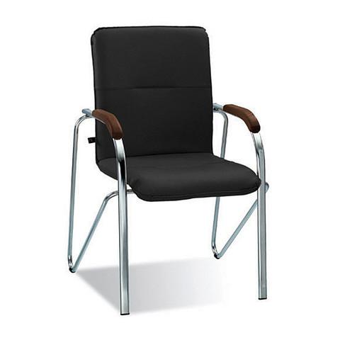 Конференц-кресло Samba черный (искусственная кожа/орех/металл хромированный)