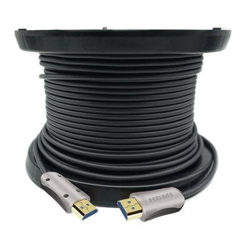 Кабель аудио-видео Fiber Optic, HDMI (m) - HDMI (m) , ver 2.0, 50 метров GOLD черный, катушка