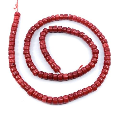 Бусины коралл красный 5х3,5 мм