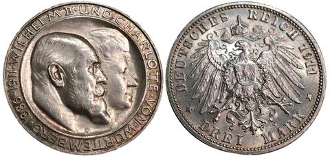 3 марки 1911 года Вюрттемберг.  Свадьба Вильгельма и Шарлотты.