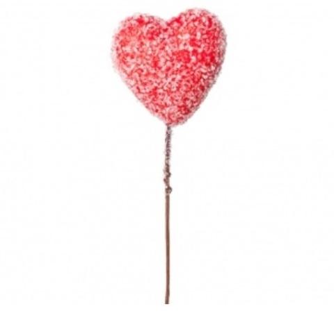 Сердце засахаренное на вставке, размер: D6хH15см, цвет: красный
